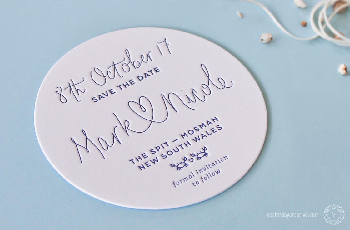 Yesterday Creative Letterpress Wedding Stationery Brisbane -Design & Print - Mark & Nicole's heart script & custom seaside themed Save The Date Coasters printed in Navy Blue - Detail