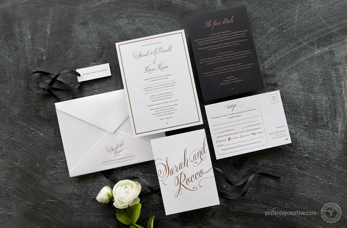 Yesterday Creative Letterpress Wedding Stationery Brisbane, Design & Print - Sarah & Rocco Typographie suite printed in metallic gold ink on white cotton paper