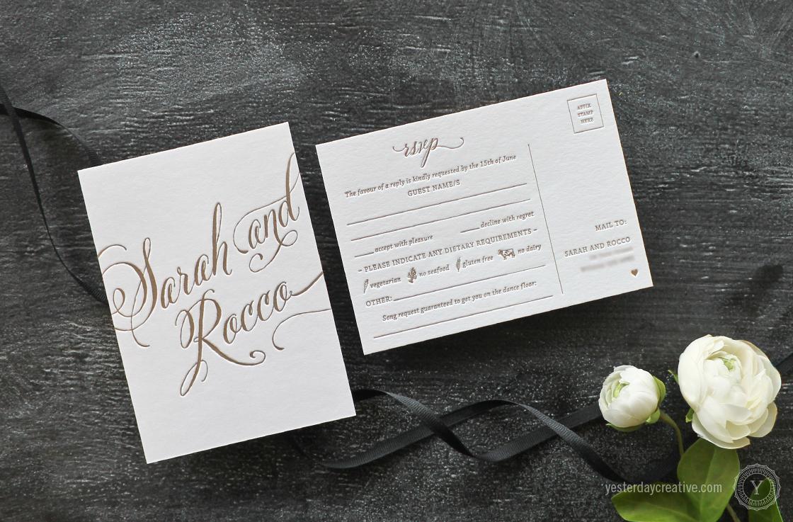 Yesterday Creative Letterpress Wedding Stationery Brisbane, Design & Print - Sarah & Rocco Typographie suite printed in metallic gold ink on white cotton paper, RSVP card