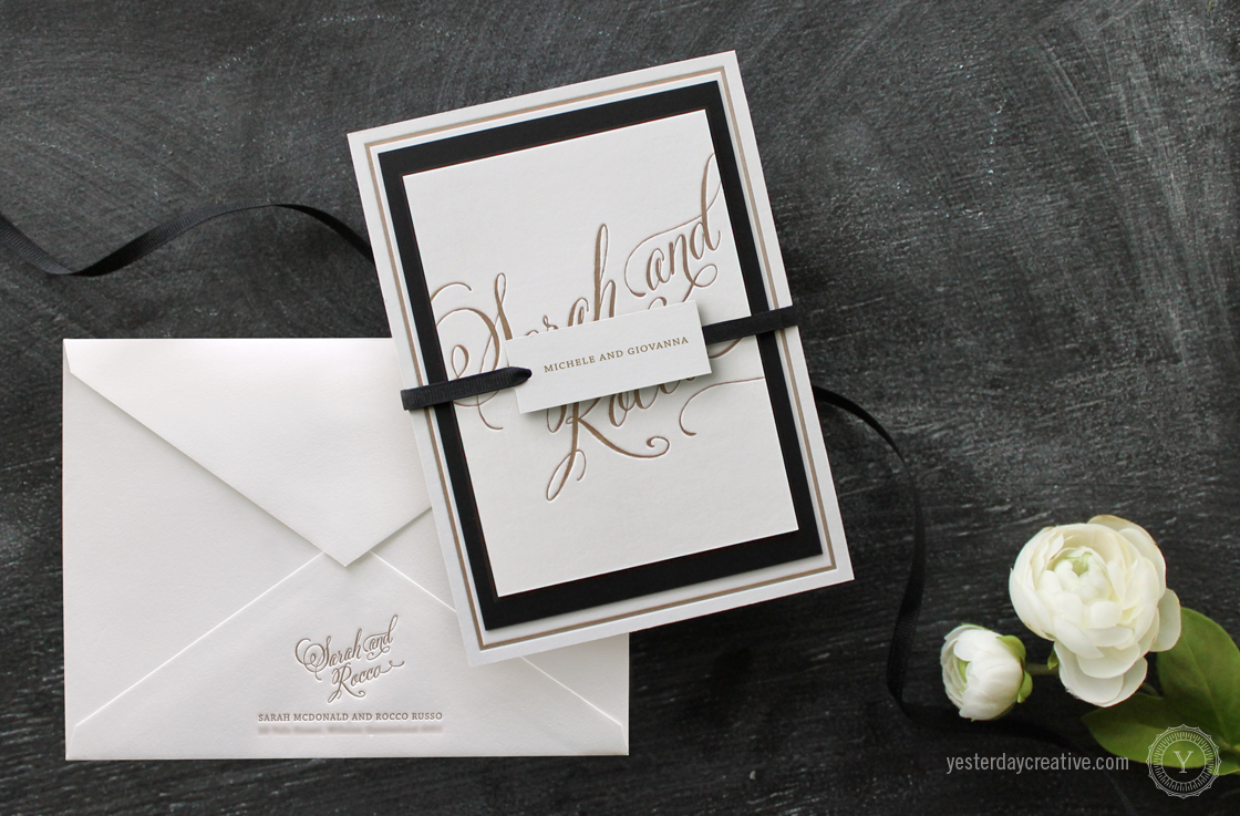 Yesterday Creative Letterpress Wedding Stationery Brisbane, Design & Print - Sarah & Rocco Full Typographie suite printed in metallic gold ink on white cotton paper, wrapped with swing tag and envelope