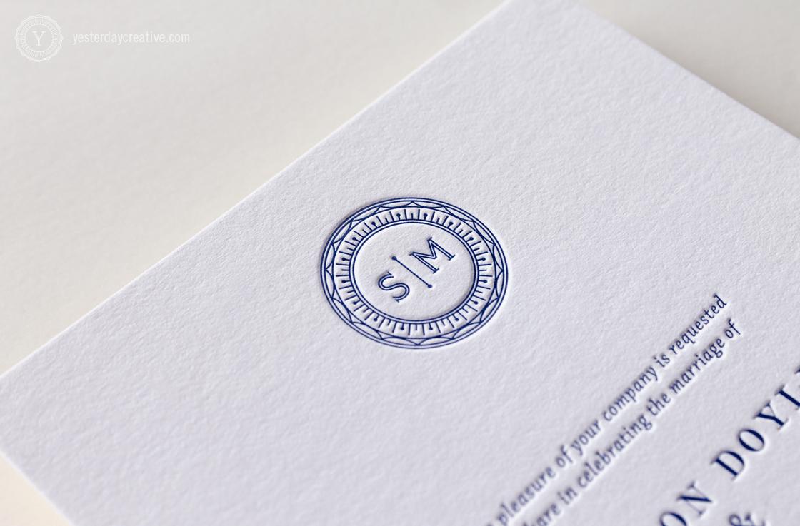 Sharon & Mark YesterdayCreativeLetterpressStationery_WeddingInvitation Navy Blue Monogram