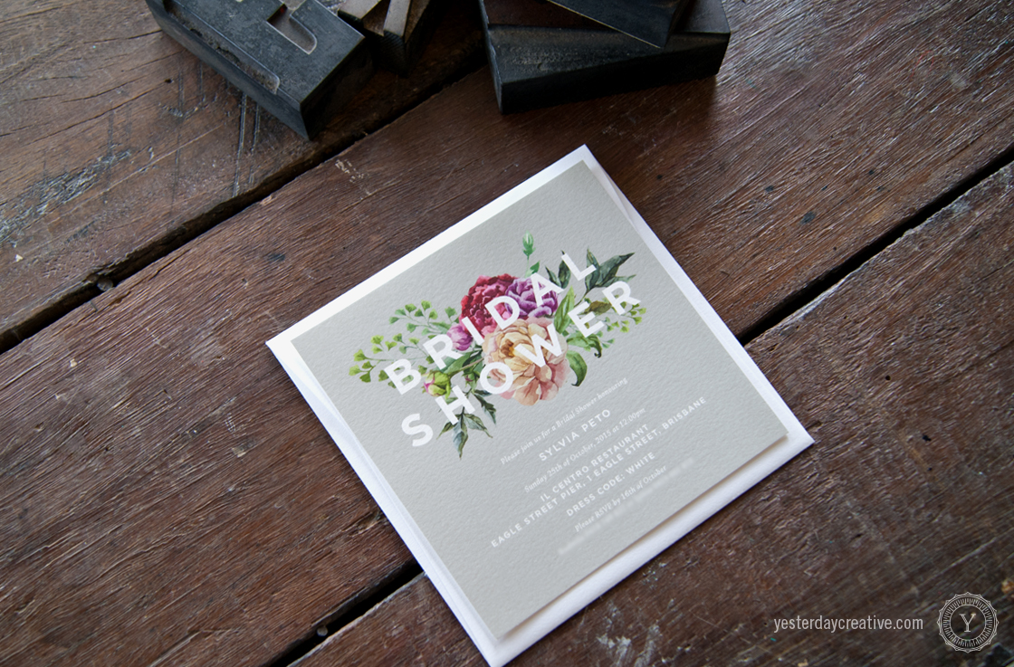 Yesterday Creative Letterpress Brisbane -Design & Print - Wedding & Event Stationery - Sylvia's digitally printed floral Bridal Shower Invitation with magenta flowers and grey background with white sans-serif typography