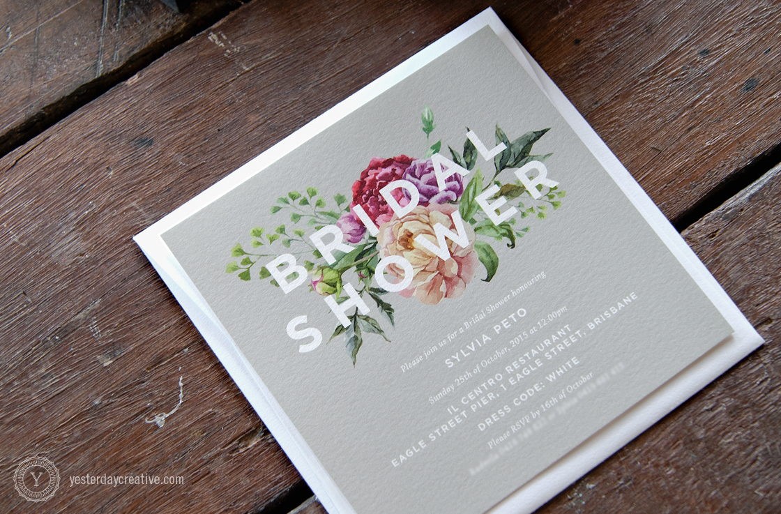 Yesterday Creative Letterpress Brisbane -Design & Print - Wedding & Event Stationery - Sylvia's digitally printed floral Bridal Shower Invitation with magenta flowers and grey background with white sans-serif typography - Detail