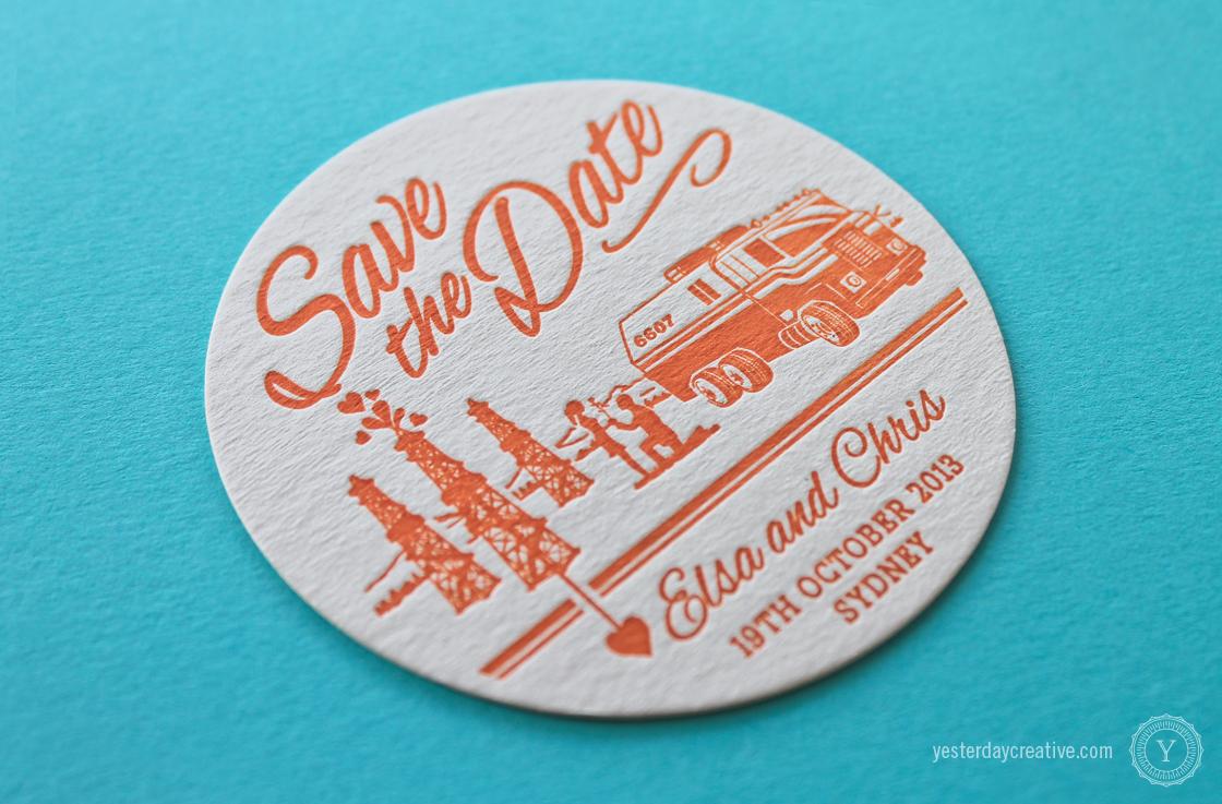 Yesterday Creative Letterpress Wedding Stationery Brisbane -Design & Print - Elsa & Chris - custom themed Save The Date Coasters letterpressed in orange ink - detail