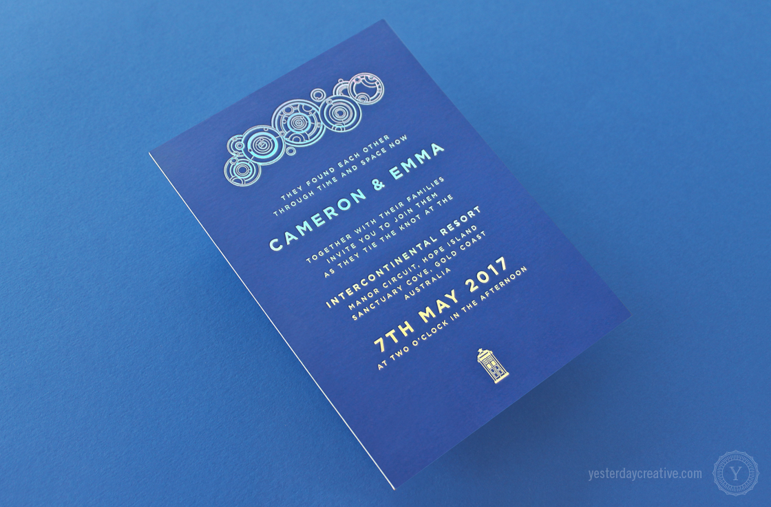 Emma & Cameron's custom designed Yesterday Creative Letterpress Wedding Stationery Doctor Who themed Invitation suite duplexed with silver Holographic Foil in Indigo paper - Invitation detail