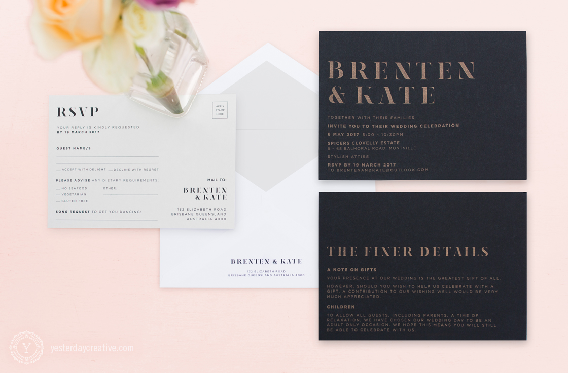 Kate&Brenten_UrbaneSuiteYesterday Creative Letterpress Wedding Stationery Brisbane, Design & Print - printed in metallic gold ink on black paper with contrast grey RSVP card