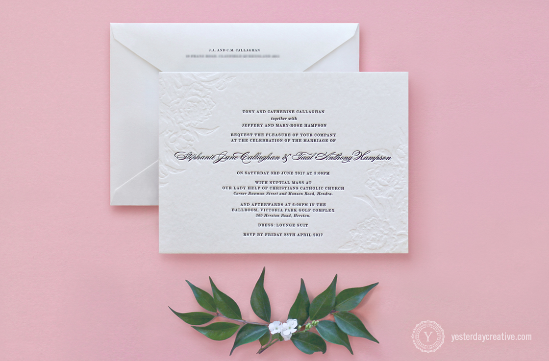 Vintage Floral Letterpress Wedding Invitation and Envelope, 2 Colours, Black Ink and Blind emboss