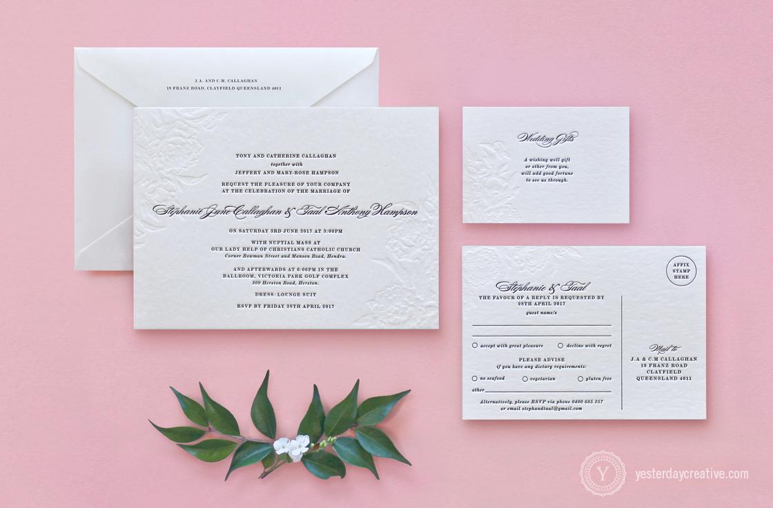 Vintage Floral Letterpress Wedding Stationery Suite, 2 Colours, Black Ink and Blind emboss