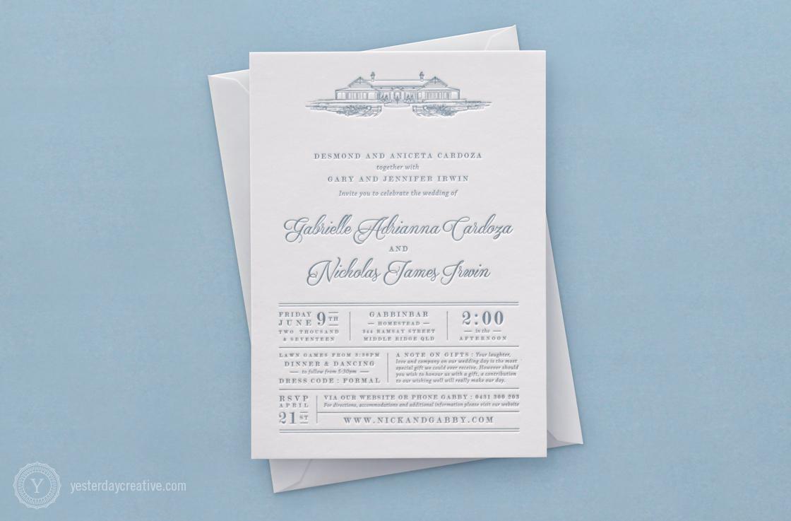 Gabrielle & Nicholas Letterpress Wedding invitation printed in light blue Ink on white cotton paper featuring a sketch of Gabbinbar Homestead