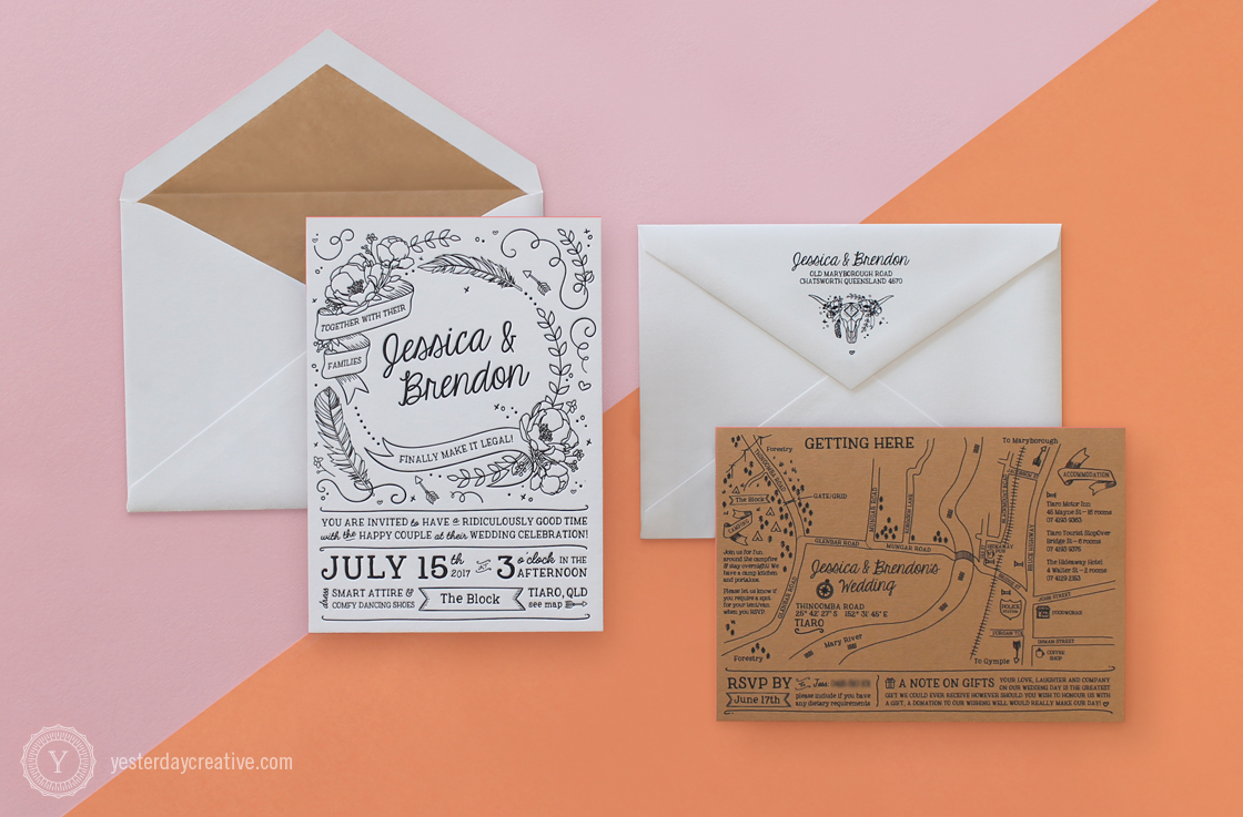 Jessica & Brendon custom illustrated Letterpress Wedding Stationery Suite printed in black Ink on white and kraft brown paper with coral pink edge painting and matching envelope liner