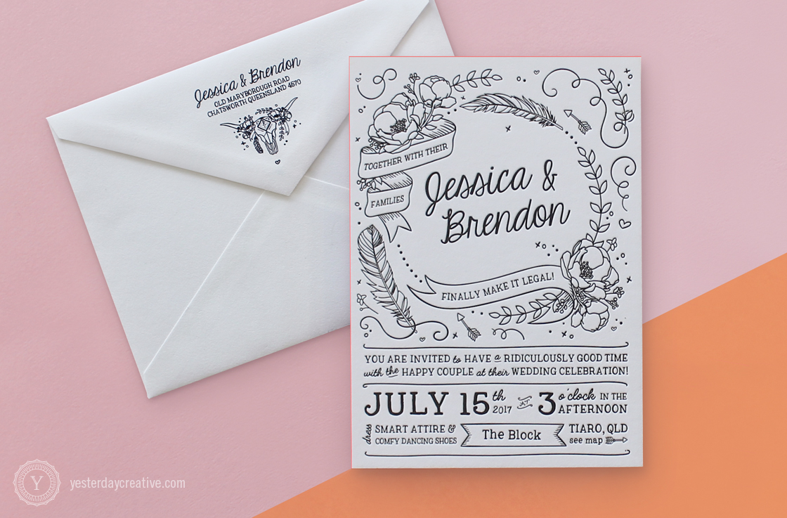 Jessica & Brendon custom illustrated Letterpress Wedding invitation printed in black Ink on white cotton paper with coral pink edge painting and matching envelope design.