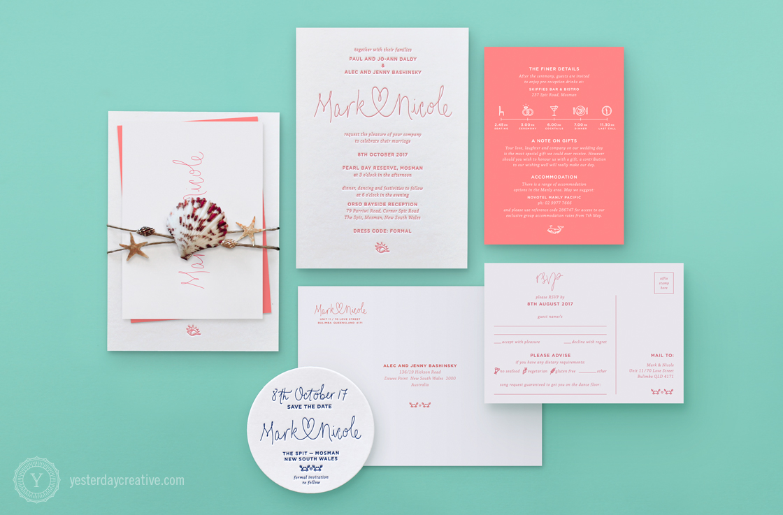 Mark & Nicole's seaside themed Letterpress Wedding invitation printed in coral pink on white cotton paper, with matching digitally printed coral pink information card, RSVP card and cotton envelope. We used the same typsetting and little crab illustrations as their Save the Date coasters to make all of the items tie in together. To complete the theming, Nicole wrapped their stationery suite in seashells and twine to send out to their guests.