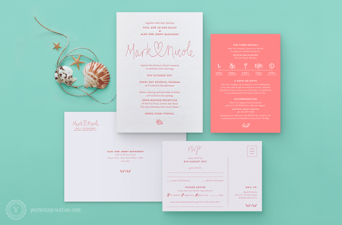 Mark & Nicole's seaside themed Letterpress Wedding invitation printed in coral pink on white cotton paper, with matching digitally printed coral pink information card, RSVP card and cotton envelope.
