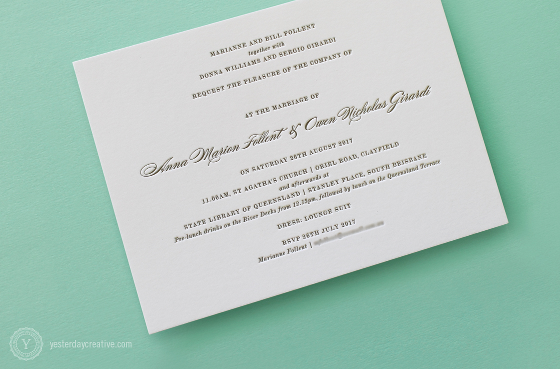 Anna & Owen Invitation Letterpress Wedding Stationery - Detail