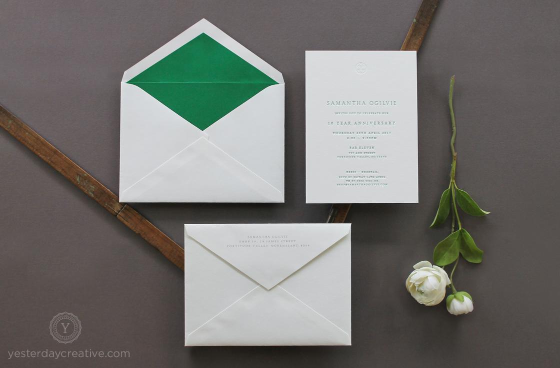 Yesterday Creative Letterpress 10 Birthday Anniversary Boutique Store Womens Clothing Samantha Ogilvie Green Classic Typographic