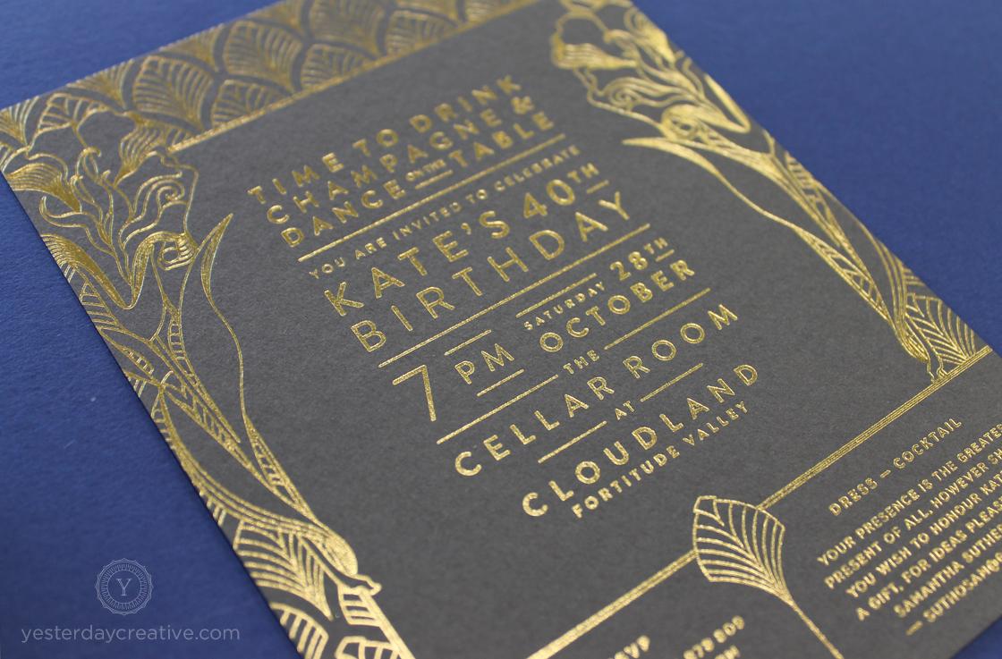 Yesterday Creative Letterpress Birthday Invitations Cloudland Gold Foil