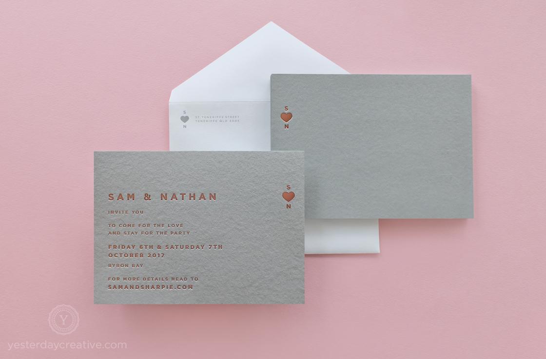Yesterday Creative Letterpress Rose Gold Foil Grey Card