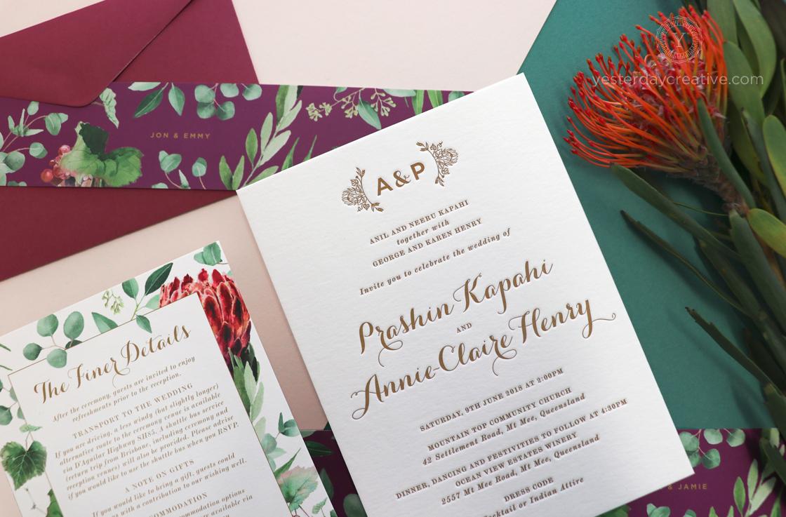 Yesterday Creative Letterpress Native Floral Wedding Stationery