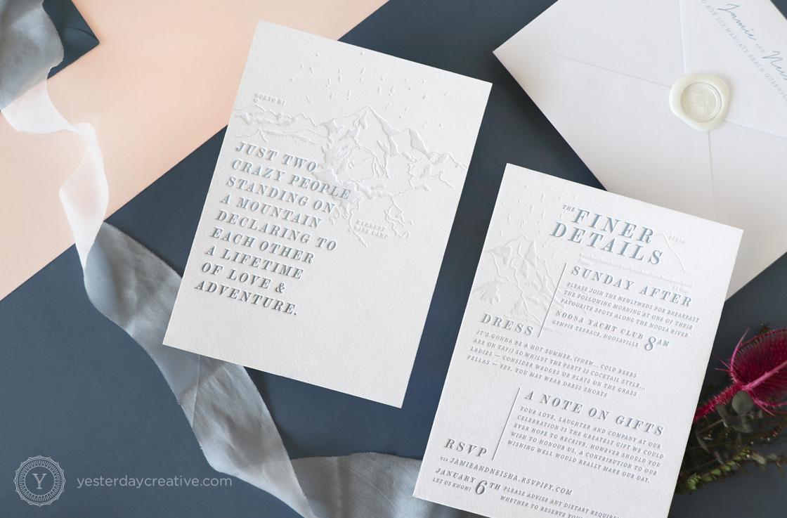 Yesterday Creative Letterpress Wedding Invitations - Neisha & Jamie - Mountain themed destination wedding