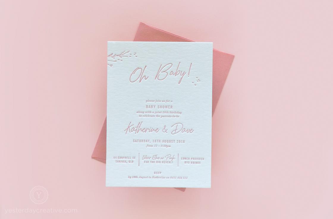 Yesterday Creative Letterpress Baby Shower Gender Reveal 30th Birthday Script Modern Floral
