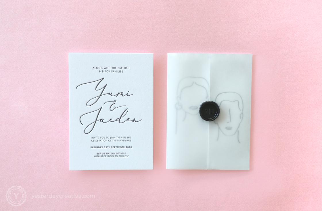 Yesterday Creative Letterpress Wedding Invitations Typographic Minimal Calligraphy Classic Modern Black White Line Art Illustration Details Card Stationery Wax Seal