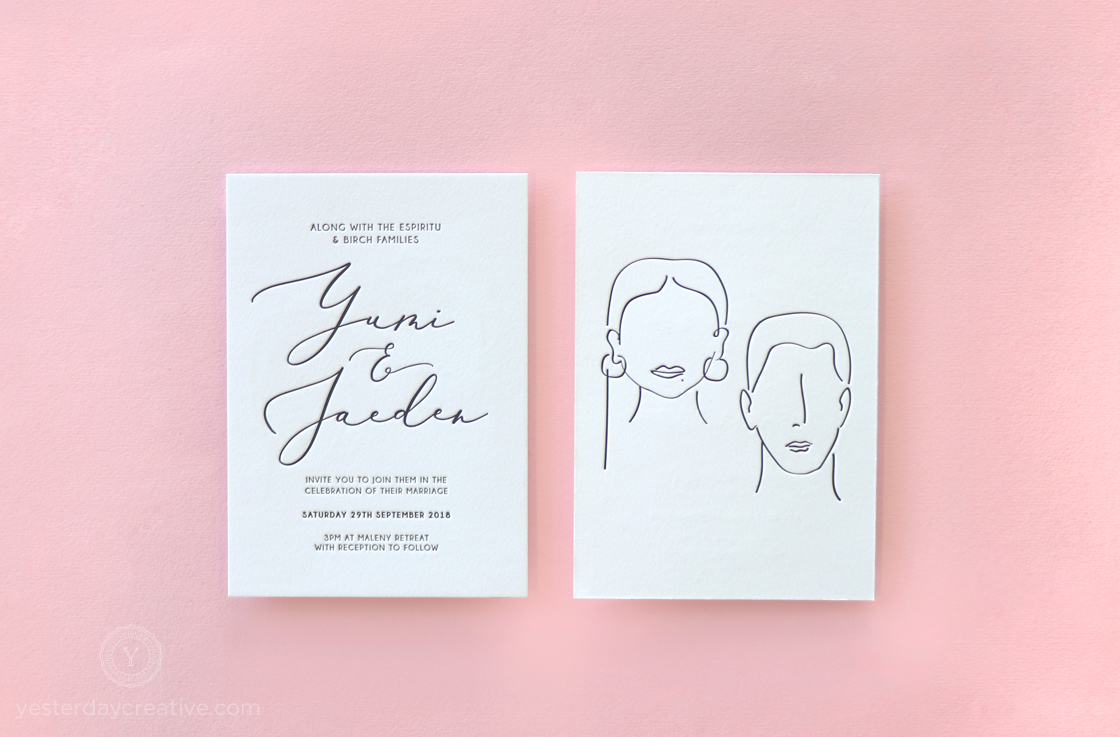 Yesterday Creative Letterpress Wedding Invitations Typographic Minimal Calligraphy Classic Modern Black White Line Art Illustration Details Card Stationery