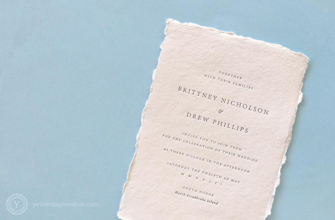 Yesterday Creative Letterpress Wedding Invitations Typographic Minimal Classic Modern Straddie Stradbroke Island Beach Deckle Edge Stationery
