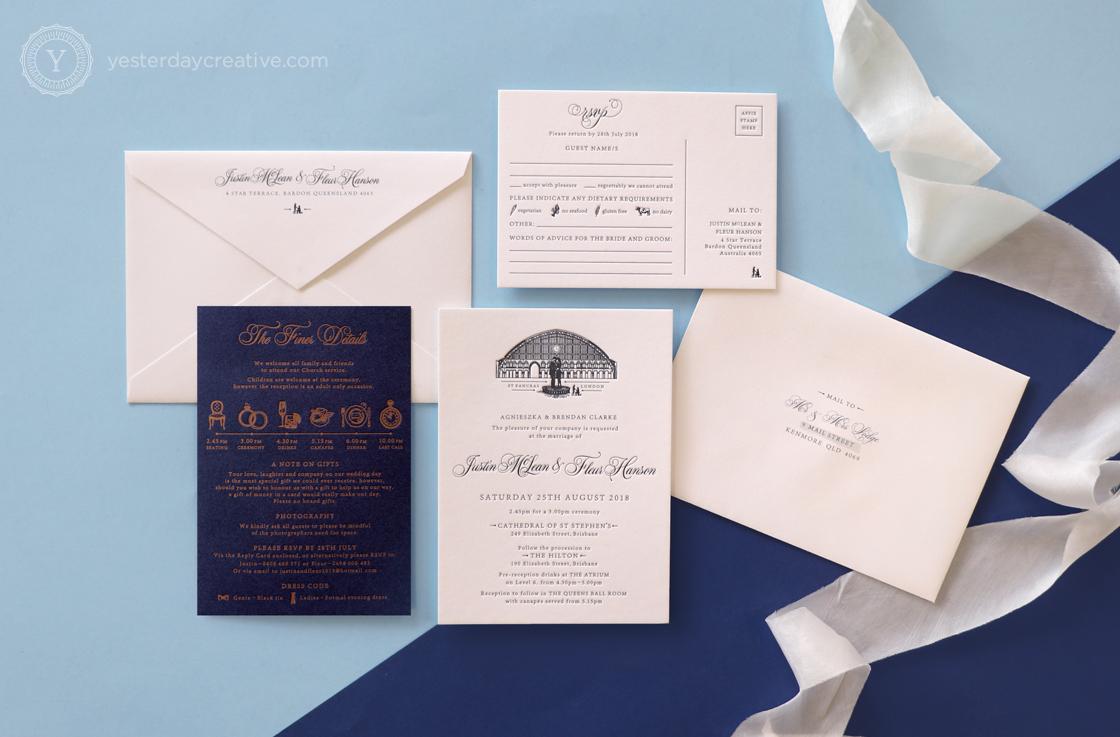 Yesterday Creative Letterpress Wedding Invitations Romance Vintage London St Pancras Station Illustration Destination Icons Navy Custom Envelopes Stationery Suite Silk Ribbon