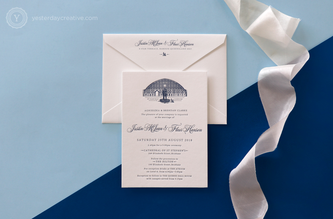 Yesterday Creative Letterpress Wedding Invitations Romance Vintage London St Pancras Station Illustration Destination Icons Navy Custom Envelopes