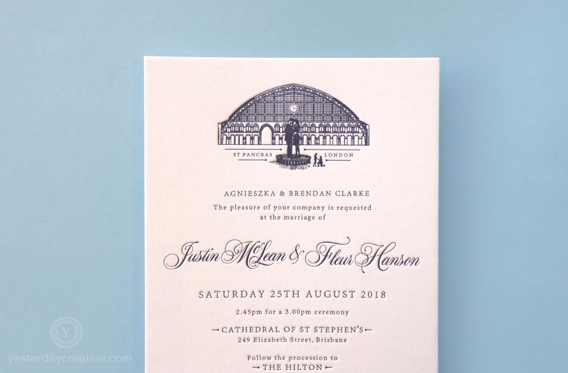 Yesterday Creative Letterpress Wedding Invitations Romance Vintage London St Pancras Station Illustration Destination Icons Navy