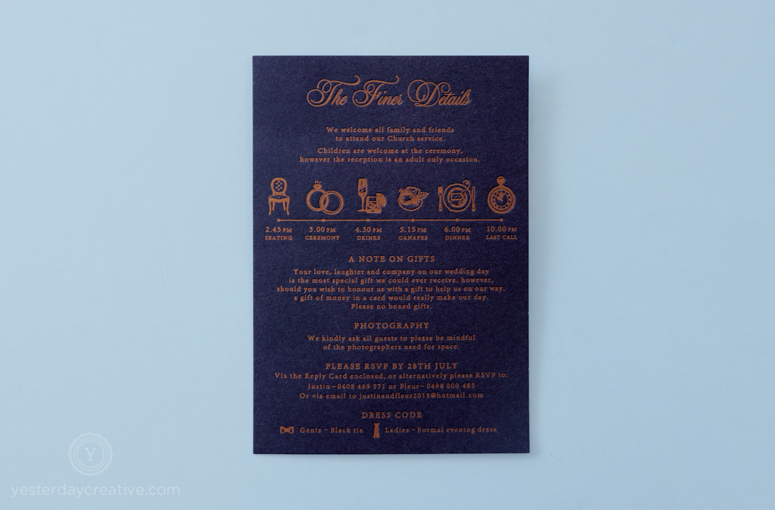 Yesterday Creative Letterpress Wedding Invitations Romance Vintage London St Pancras Station Illustration Details Icons Navy