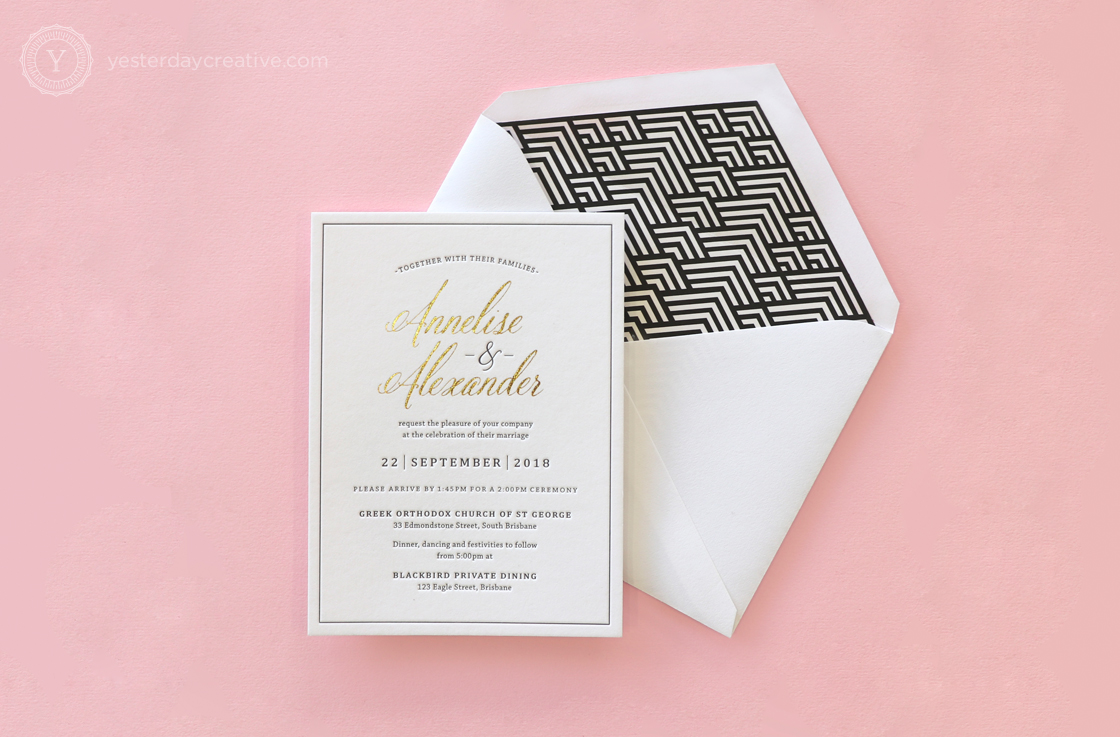 Yesterday Creative Letterpress Wedding Invitations Typographic Calligraphy Classic Traditional Black White Foil Gold Details Card Stationery RSVP Suite Envelope Liner Geometric Sparkle