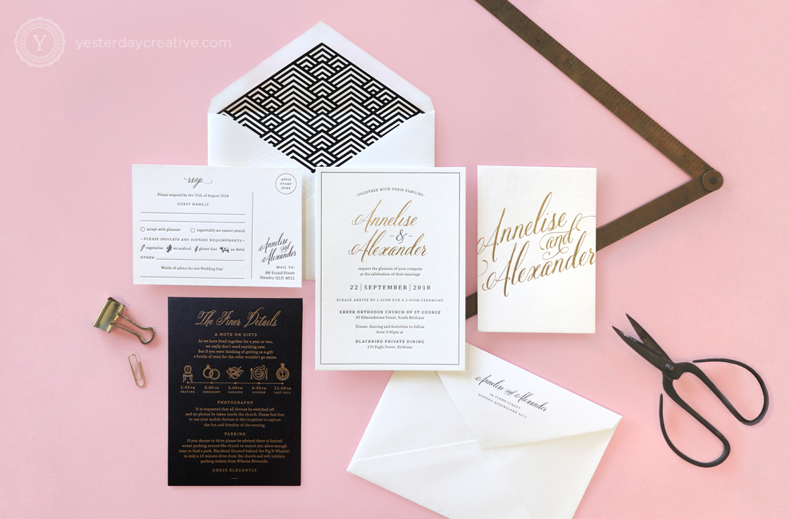 Yesterday Creative Letterpress Wedding Invitations Typographic Calligraphy Classic Traditional Black White Foil Gold Details Card Stationery RSVP Suite Envelope Liner Geometric