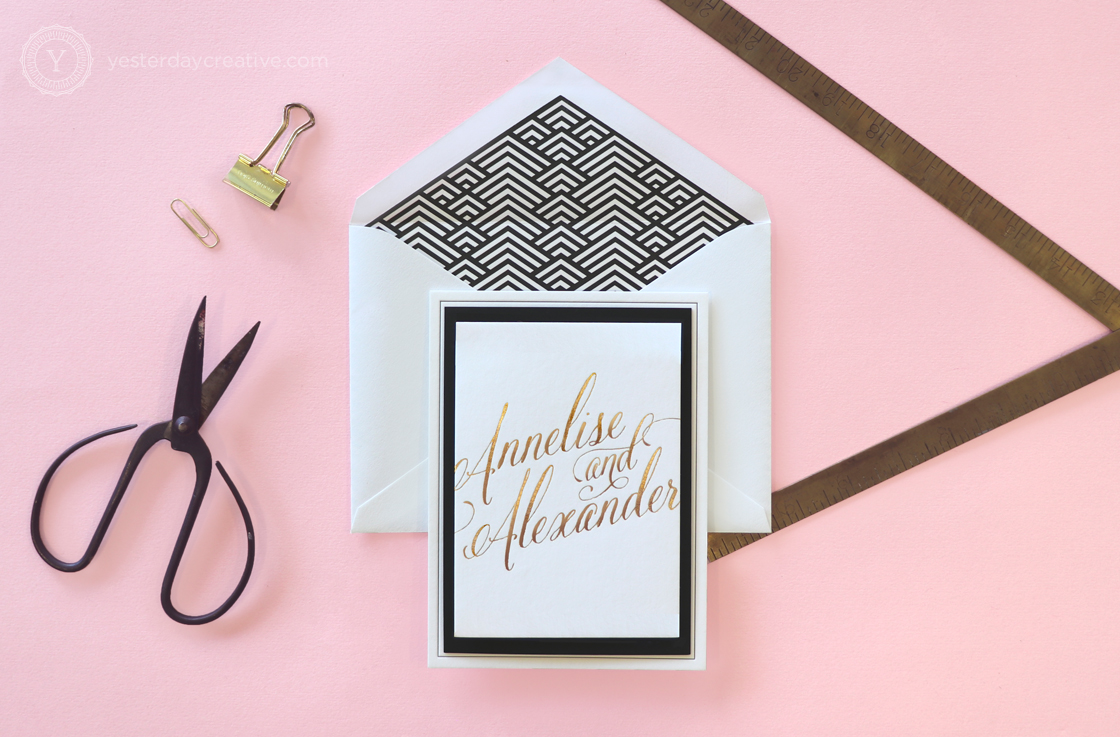 Yesterday Creative Letterpress Wedding Invitations Typographic Calligraphy Classic Traditional Foil Gold Details Card Stationery Envelope Geometric