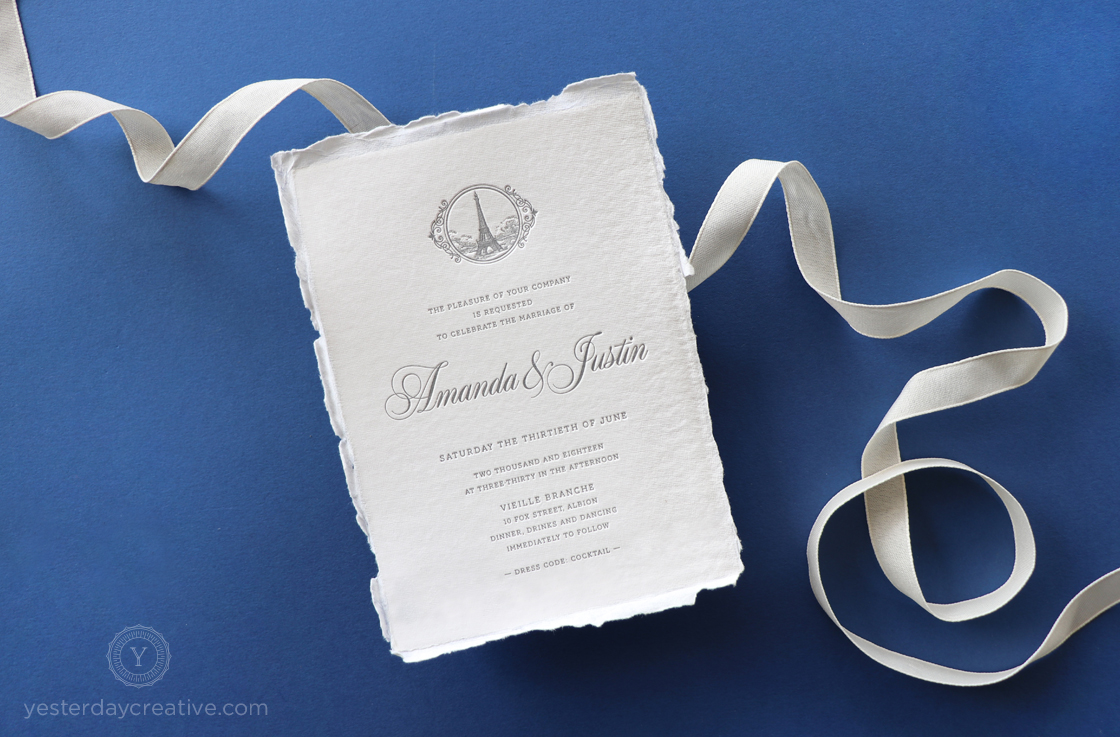 Yesterday Creative Letterpress Wedding Invitations Vintage Parisian French Calligraphy Script Eiffel Tower Timeless Monochrome Monogram