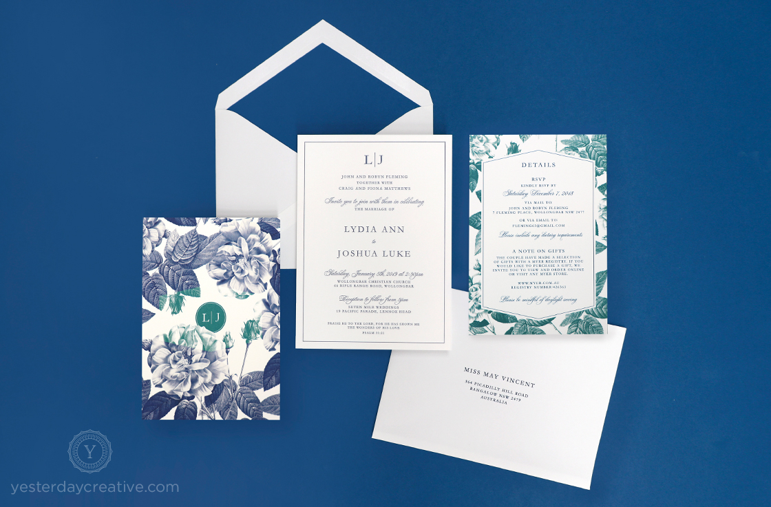 Yesterday Creative Letterpress Wedding Stationery Invitations Modern Rose Details Card Digital Flowers Floral Style Envelope Liner Suite