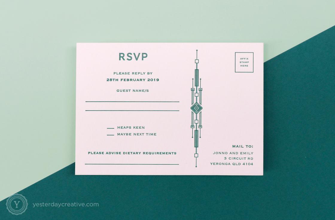 Yesterday Creative Letterpress Canberra Wedding Invitation RSVP Card Art Deco Aviation Plane Aircraft Pattern Kurrajong Hotel Emerald rsvp postcard