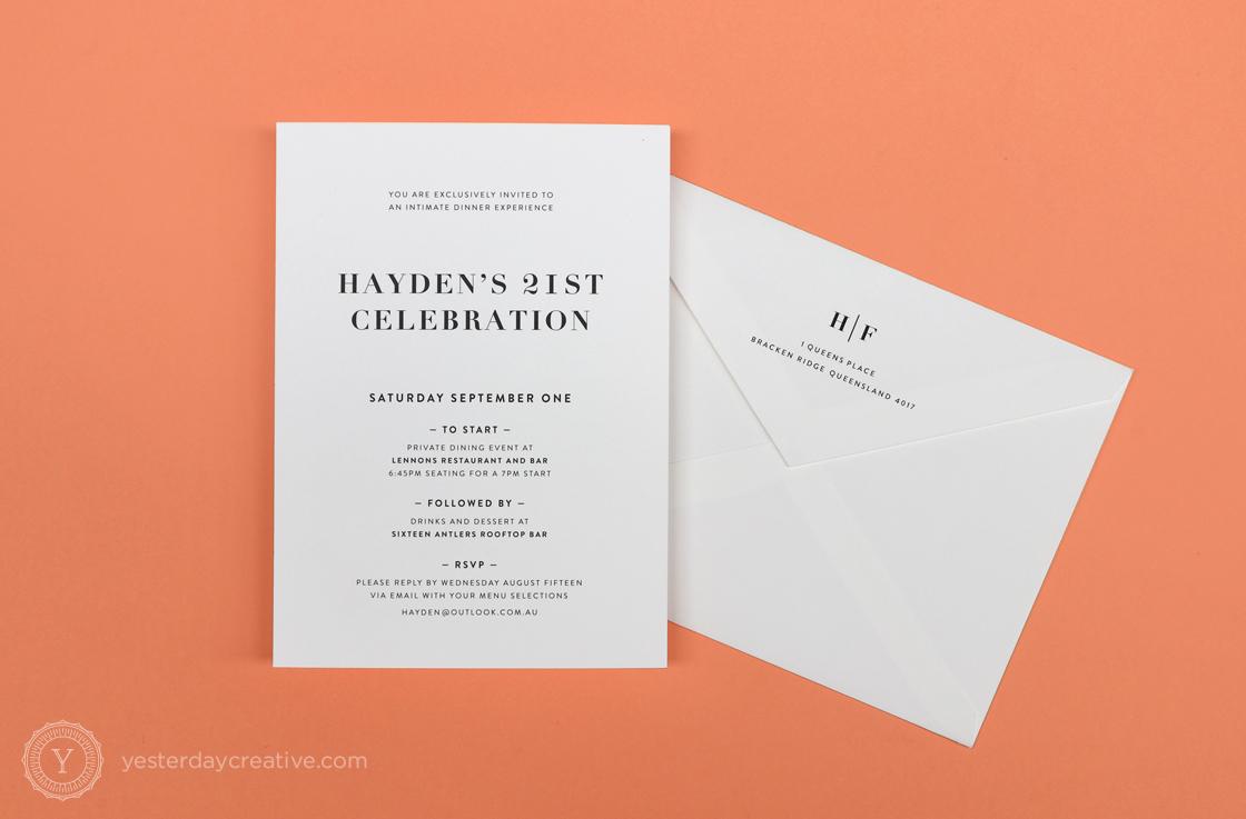 Yesterday Creative Letterpress Digital Print Birthday 21st Classic Elegant Celebration Party Invitation Envelope Monogram Custom