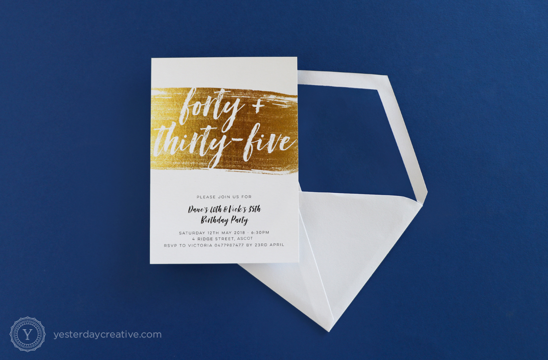 Yesterday Creative Letterpress Digital Print Birthday 40th 35th Classic Elegant Celebration Party Invitation Envelope Custom Gold Foil Look Texture