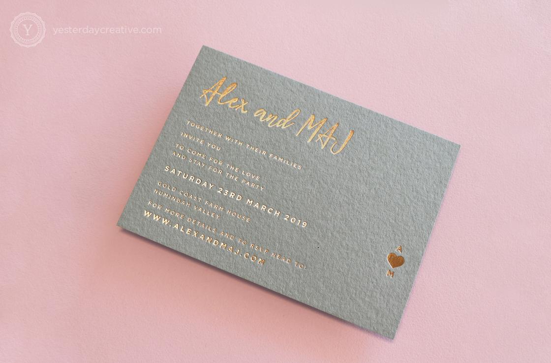 Yesterday Creative Letterpress Gold Coast Wedding Foil Grey Paper Rose Goil Minimal Modern