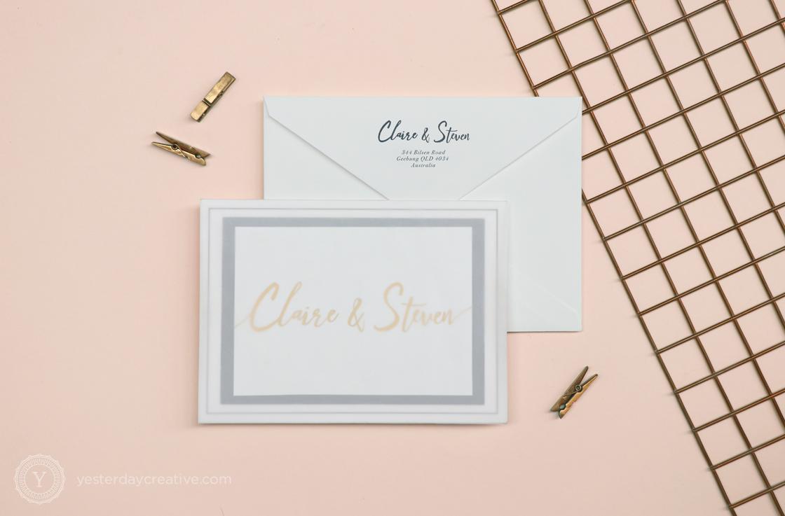 Yesterday Creative Letterpress Gold Foil Letterpress Modern Traditional Classic Brisbane W Hotel Suite Envelope Translucent Wrap Bellyband