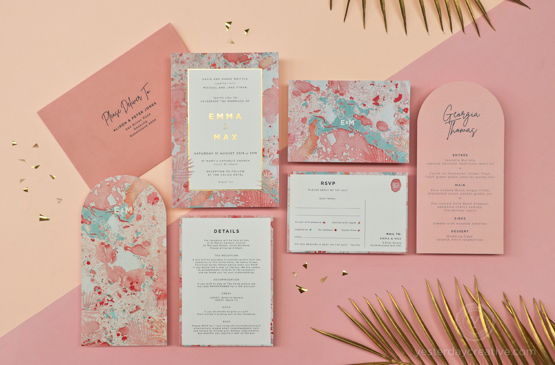 Yesterday Creative Letterpress The Calile Hotel Palm Springs Flamingo Palms Marble Pink Arch Menus Gold Foil Modern
