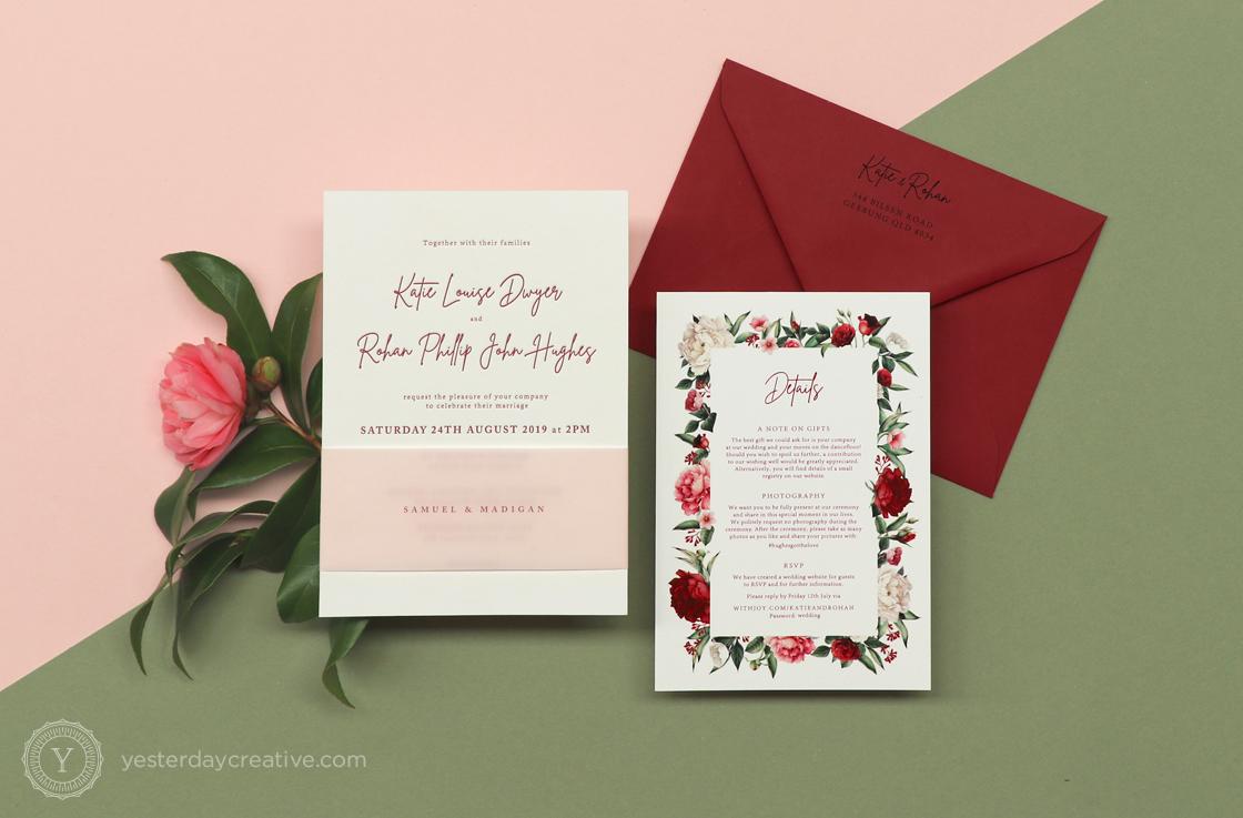 Yesterday Creative Letterpress Digital Print Wedding Brisbane Racing Club Florals Traditional