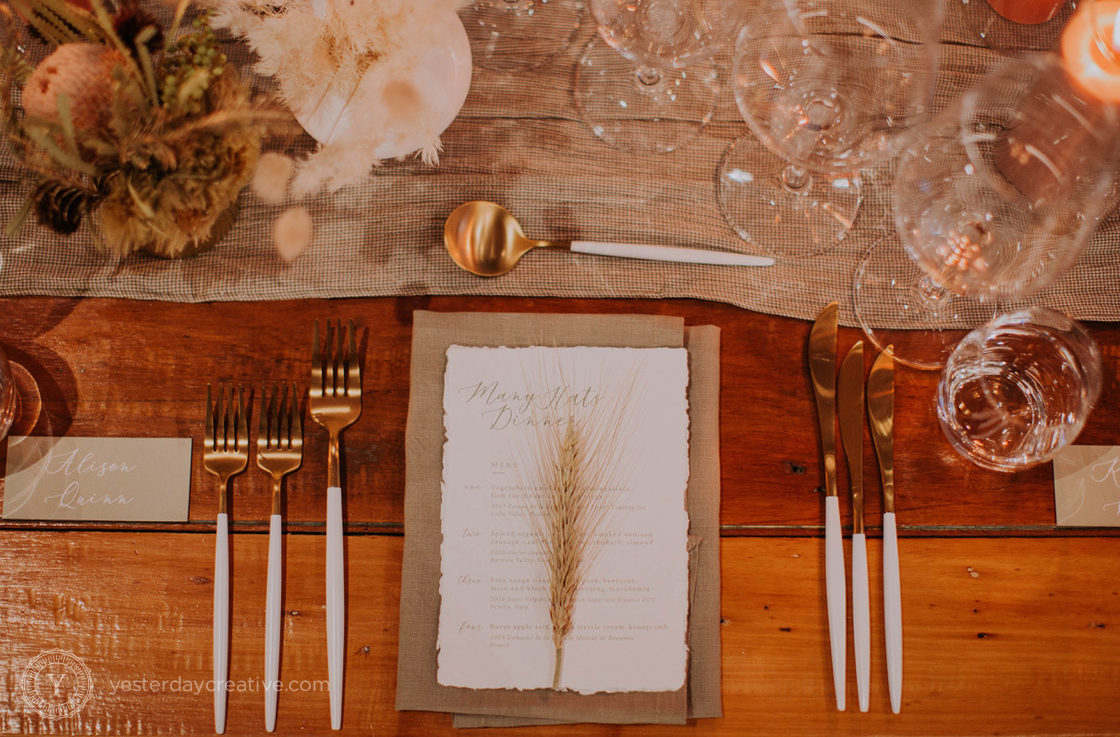 Yesterday Creative Reception Stationery Menus Placecards Tablesetting Tablescape Modern Deckled Edge