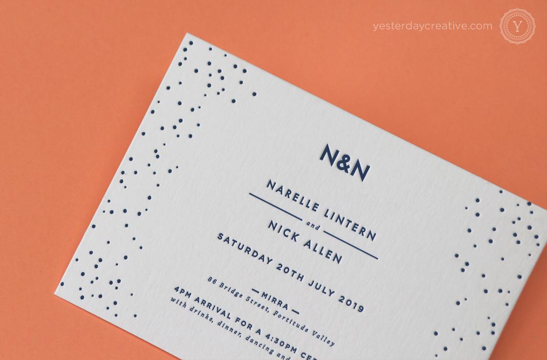 Yesterday Creative Letterpress Digital Print Wedding Brisbane Polka Dot Fun Navy Envelope Liner RSVP Details Card Impression