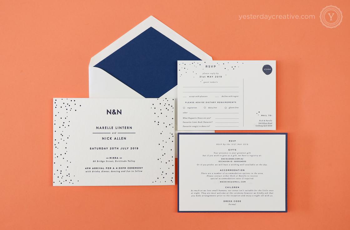 Yesterday Creative Letterpress Digital Print Wedding Brisbane Polka Dot Fun Navy Envelope Liner RSVP Details Card