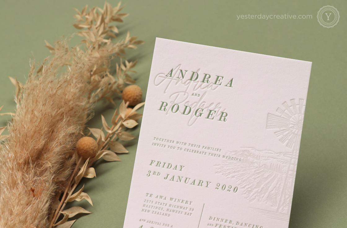 Yesterday Creative Letterpress Wedding New Zealand Winery Windmill Destination Sage Green Illustration Impression