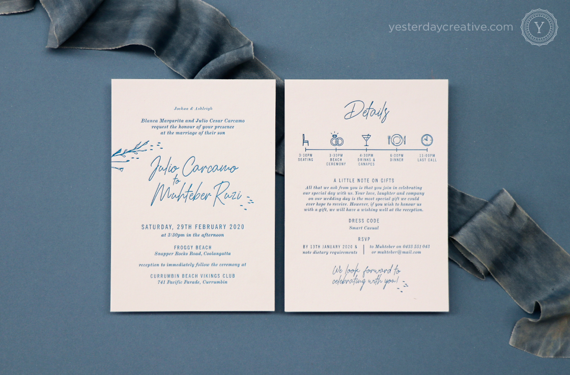 Yesterday Creative Letterpress Wedding Turquoise Gold Coast Beach Casula Script Fun Icons Timeline Invitation Details