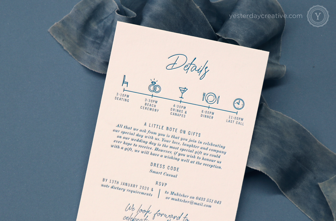Yesterday Creative Letterpress Wedding Turquoise Gold Coast Beach Casula Script Fun Icons Timeline