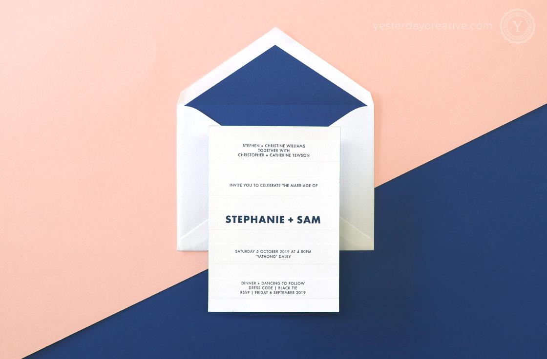 Yesterday Creative Letterpress Digital Print Wedding Dalby Polka Dot Fun Navy Envelope Liner RSVP Details Card Impression Blind Emboss Modern Icons